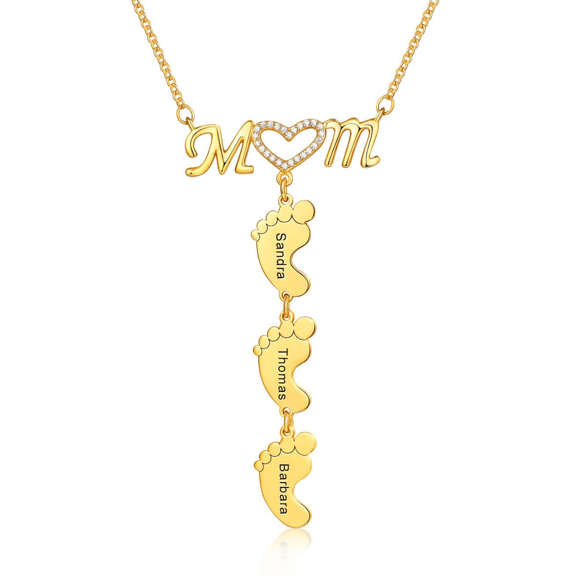 Personalized Inlay Mom Necklace With Baby Feet Pendant 1-10 Pendants