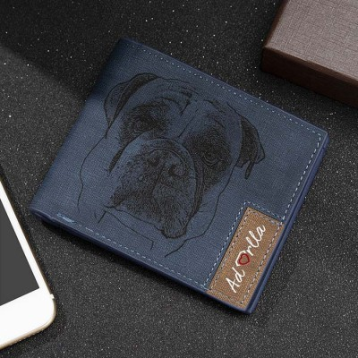 Father's Day Gift Personalized Photo Leather Wallet Blue