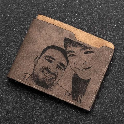 Father's Day Gift Personalized Double Side Photo Leather Wallet