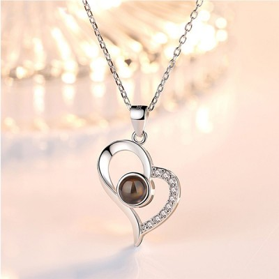 Personalized Heart Photo Projection Necklace With I Love You In 100 Languages
