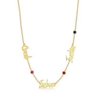 18K Gold Plating Personalized Name Necklace With 1-6 Names and Birthstones
