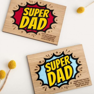 Personalized Super Dad Wall Plaque For Father's Day Gifts