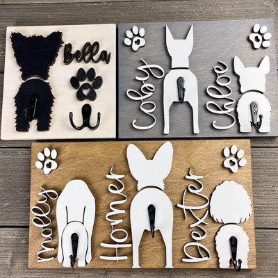 Personalized Dog Butt Leash Holder with Name and Paw Print Gift For Pet Lover