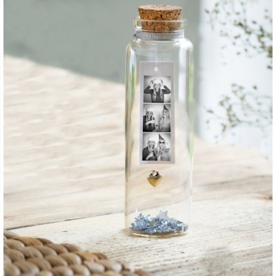 Birthday Gift Personalized Photo Message in a Bottle with Heart Charms Gift For Loved Ones, Family, Best Friend, Pet at Any Occasion