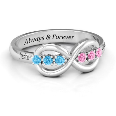 S925 Sterling Silver Personalized Eternity Birthstone Ring For Her