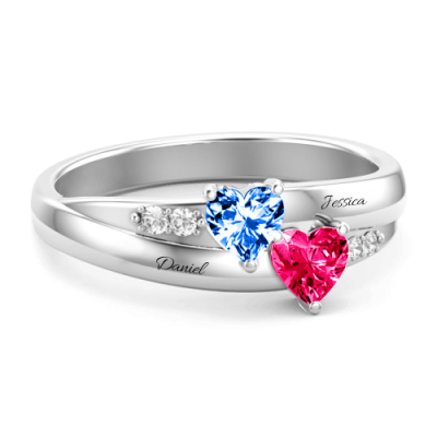 S925 Sterling Silver Custom Engraved Double Heart Birthstone Promise Ring For Her