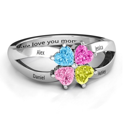 Personalized Engraved Four Clover Hearts Family Ring