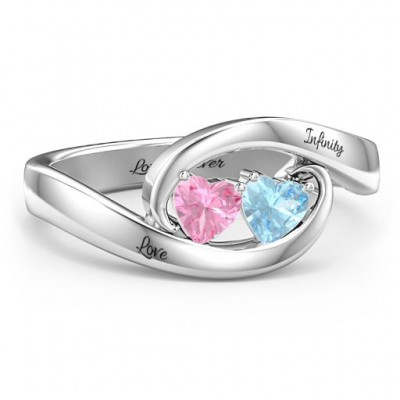 Personalized Pair of Hearts Infinity Birthstone Promise Ring For Her