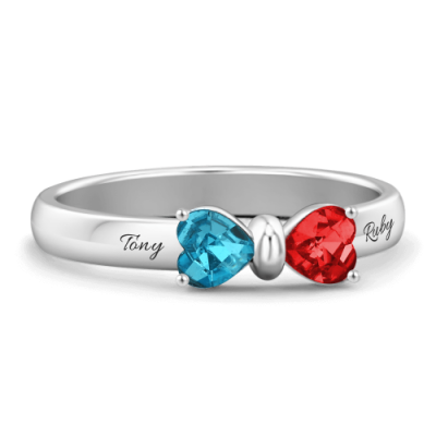 S925 Sterling Silver Personalized Birthstone Adorable Bow Promise Ring For Her