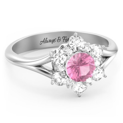 S925 Sterling Silver Aurora Round Cluster Birthstone Ring For Her