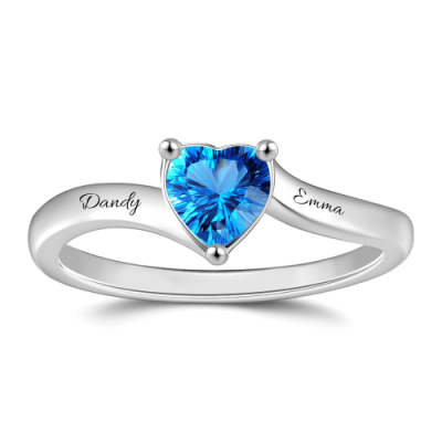 S925 Sterling Silver Personalized Engraved Birthstone Promise Ring For Her