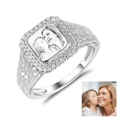 S925 Sterling Silver Personalized Engraved Photo Ring