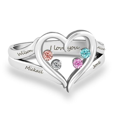 S925 Sterling Silver Forever In My Heart Birthstone Ring