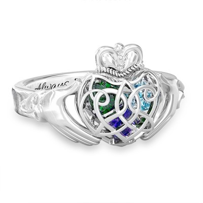 S925 Sterling Silver Personalized Caged Hearts Celtic Claddagh Ring with 1-6 Birthstones