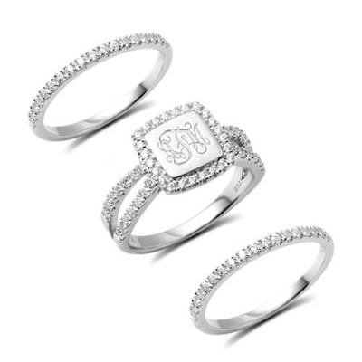 S925 Sterling Silver Custom Engraved Stacking Monogram Ring