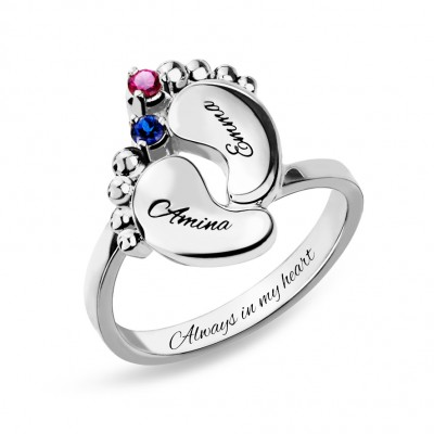 S925 Sterling Silver Personalized Baby Feet Ring with Birthstone For Mom