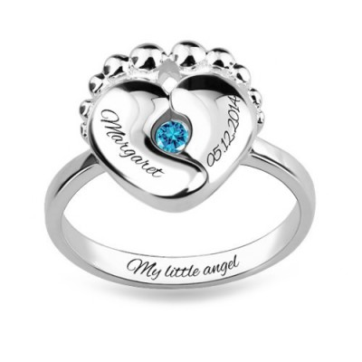S925 Sterling Silver Personalized Engraved Baby Feet Ring With Birthstone