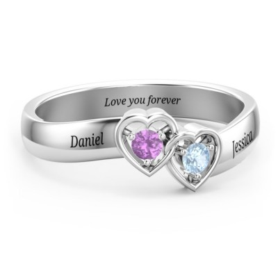 S925 Sterling Silver Personalized Double Interlocked Hearts Promise Ring For Couples