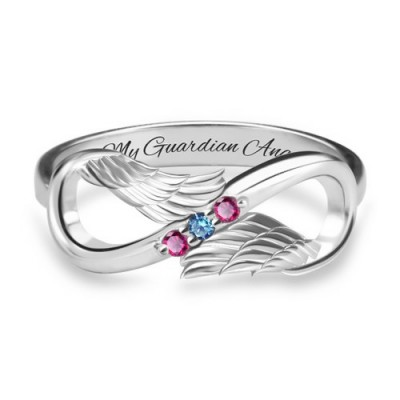 S925 Sterling Silver Personalized Angel Wings Infinity Ring With Birthstones For Her