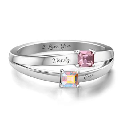 S925 Sterling Silver Personalized Birthstone Promise Ring Platinum Plated For Her