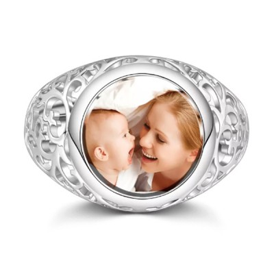 S925 Sterling Silver Personalized Round Mother's Photo Ring