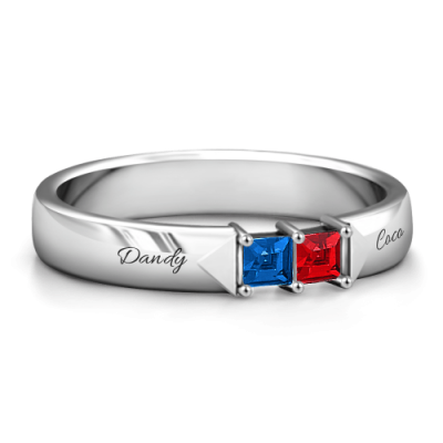 S925 Sterling Silver Personalized Princess Cut Engraved Birthstone Ring