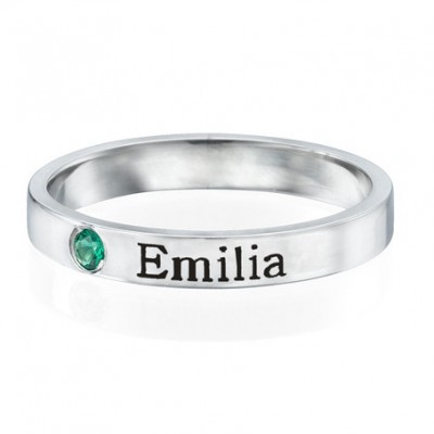 S925 Sterling Silver Personalized Engraved Name Ring With Birthstone For Her