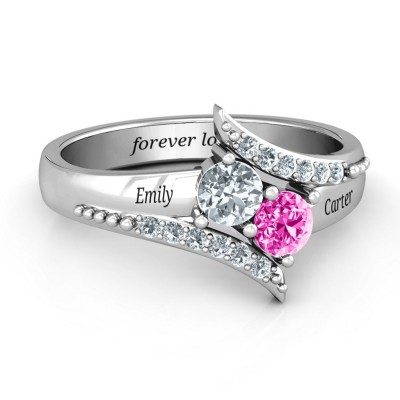 S925 Sterling Silver Personalized Birthstone Promise Ring With Engraving