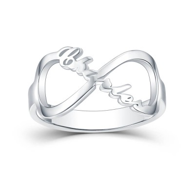 S925 Sterling Silver Personalized Carrie Style Infinity Name Ring