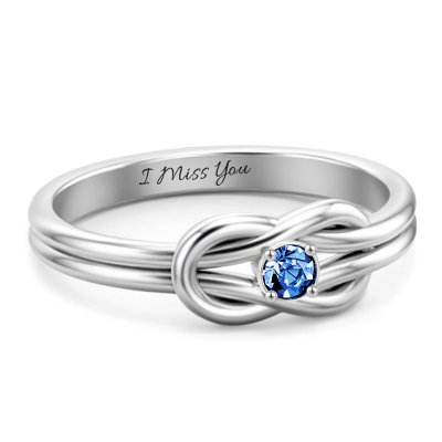 S925 Sterling Silver Personalized Twisted Promise Ring With Birthstone