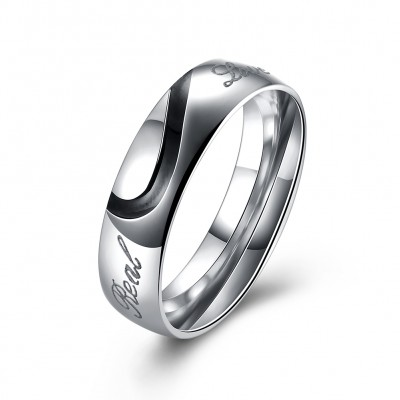 S925 Sterling Silver Men's Love Couple Couples Ring