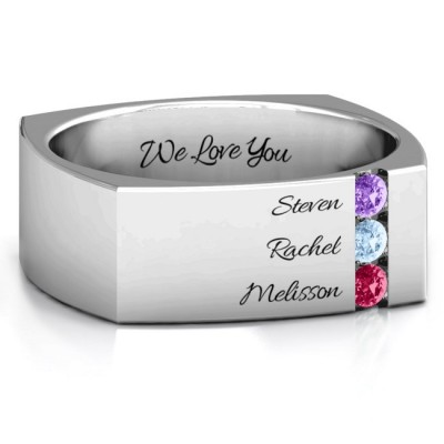 S925 Sterling Silver Custom Cache Square-shaped Gemstone Dad Ring