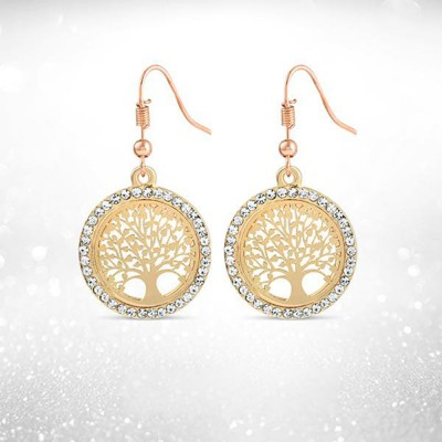 Tree Of Life - Gold Earrings W/ Rhinestones