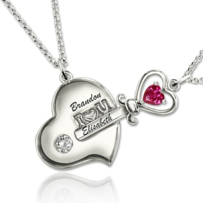 S925 Silver Couple's Key To My Heart Birthstone Necklace