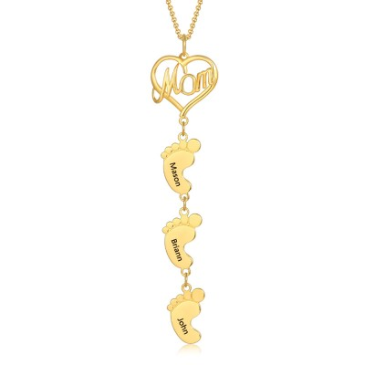 18K Gold Plating Personalized Mom Necklace With Baby Feet 1-10 Pendants