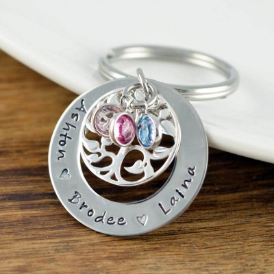 Personalized 1-6 Engraving Names with Birthstone Keychain Gift For Mom and Grandma