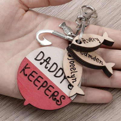 Handmade Father's Day Gift Personalized Fishing Keychain We're Hooked on Daddy Dad Grandpa