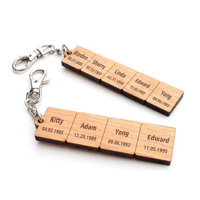 Father's Day Gift Personalized Wood Pieces Keychain with 1-10 Names Dad Husband Grandpa