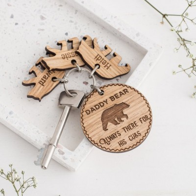 Father's Day Gift Personalized Daddy Bear Keyring with 1-10 Charms Dad Husband Grandpa