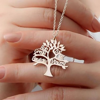 Personalized Family Tree Name Necklace with 1-8 Names