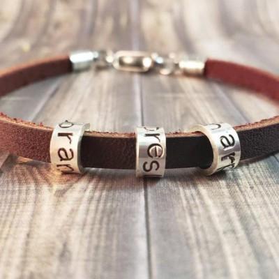 Men's Leather Bead Bracelet With 1-10 Beads