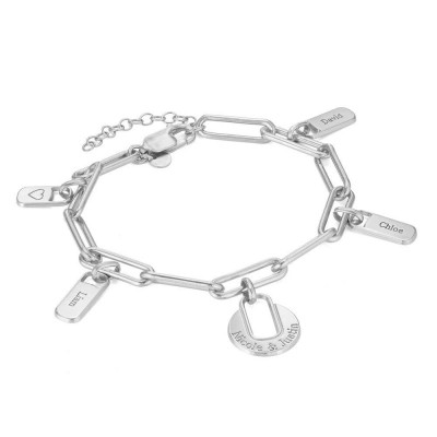Chain Link Bracelet with 1-5 Custom Charms