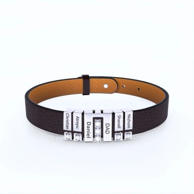 Father's Day Gift Family Braided Genuine Leather Bracelet with 1-12 Beads Small Custom Beads