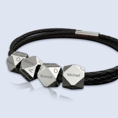 Father's Day Gift Personalized Men's Braided Leather Bracelet with 1-10 Polyhedral Beads