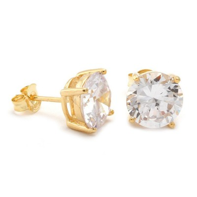Gold Clear Round Brilliant Sterling Silver Stud Earrings