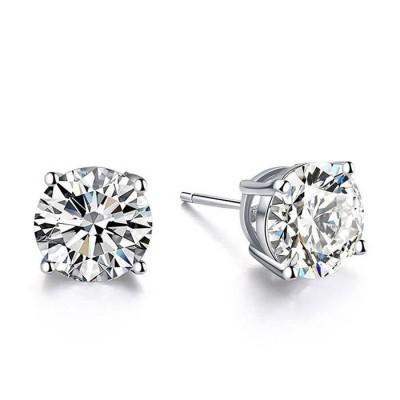 Round White Sapphire Stud Earrings