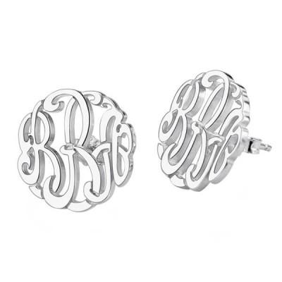 Personalized Block Monogram Earrings Sterling Silver