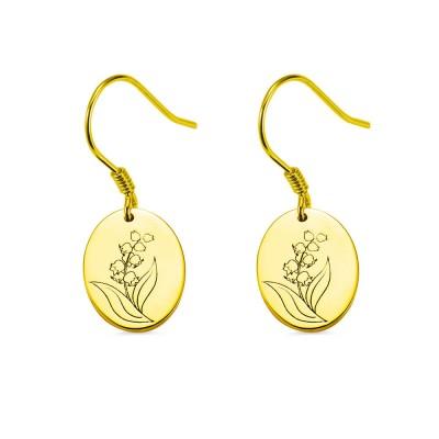 Engraved Birth Flower Earrings