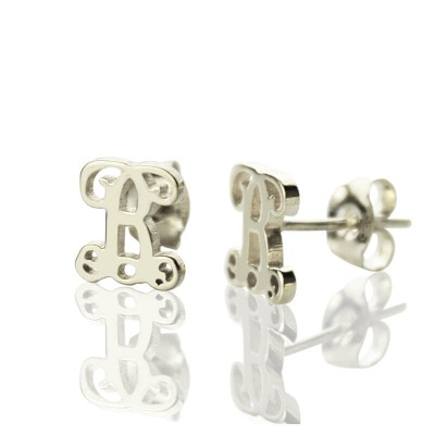 Personalized Single Initial Monogram Stud Earrings Sterling Silver