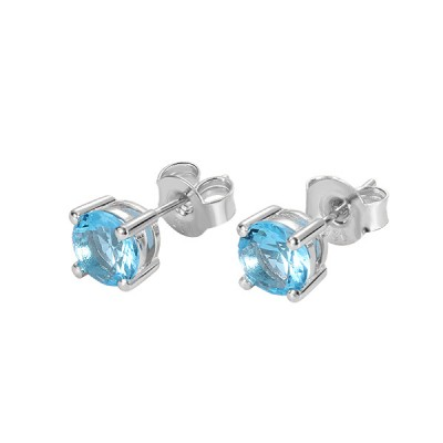 Personalized Round Birthstone Stud Earrings for Her